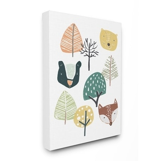 Stupell Industries Forest Animal Faces Trees Cartoon Family Design Canvas Wall Art
