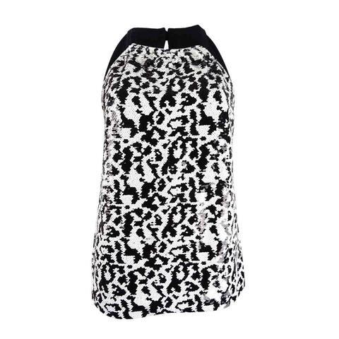 INC International Concepts Women's Sequin Halter Top - Deep Black