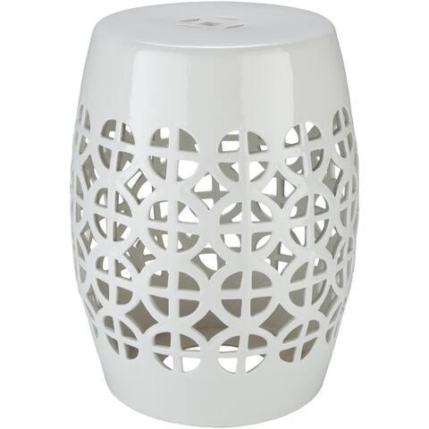 Akio White Ceramic/Porcelain Outdoor Stool