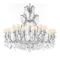 Crystal Chandelier Lighting With White Shades