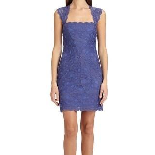 Nicole Miller NEW Blue Stretch Lace Women's Size Large L Sheath Dress