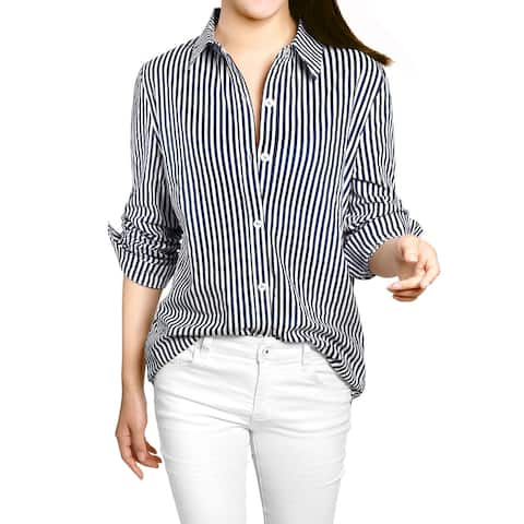 Women Button Down Vertical Stripes Long Roll Up Sleeves Shirt