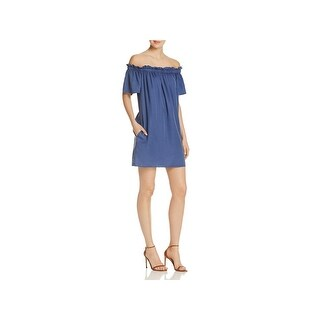 French Connection Womens Stayton Casual Dress Ruffled Off-The-Shoulder
