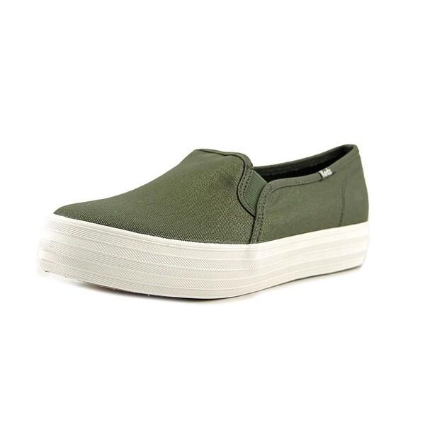 Keds Triple Deck CR Hatch Women Round Toe Canvas Green Sneakers