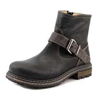 Fendi Byker Mas Viking Youth Round Toe Leather Black Ankle Boot