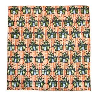 CTM® Halloween Dancing Haunted Houses Print Holiday Bandana - Orange - One Size