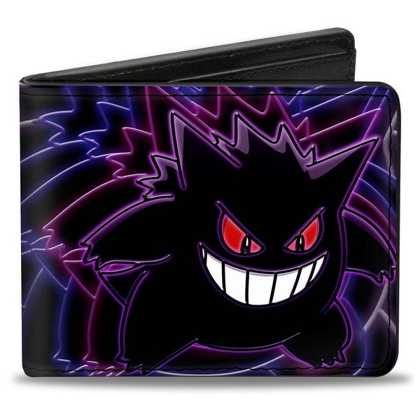 Electric Gengar Pose + Pokemon Black Purples Bi Fold Wallet One Size - One Size Fits most