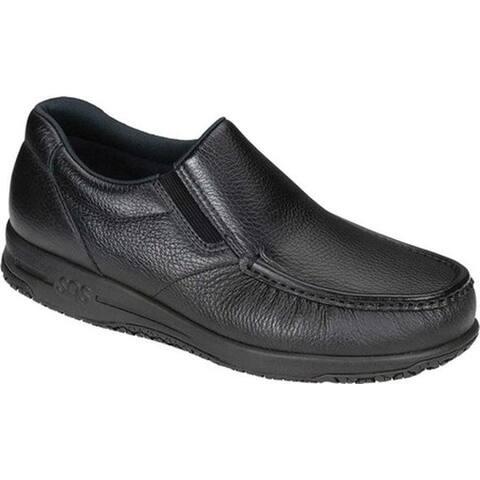SAS Men's Navigator Slip-On Moc Toe Shoe Black Leather