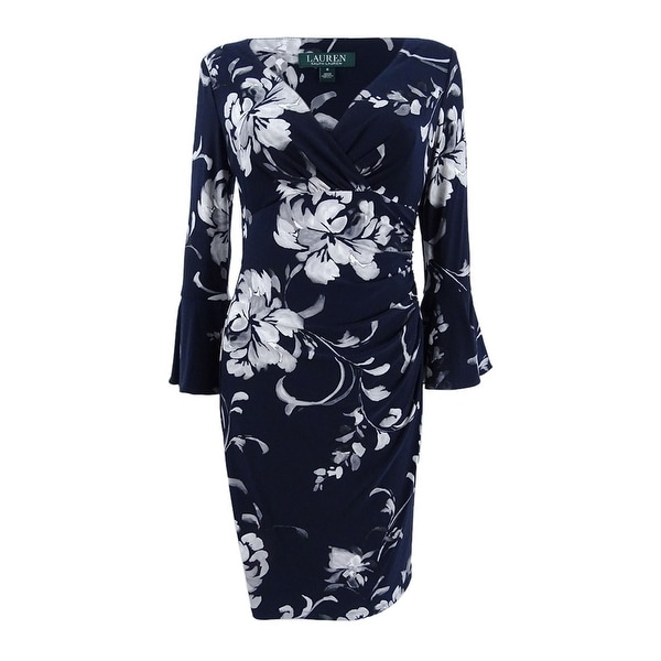 6ee281b84f0e6 Shop Lauren by Ralph Lauren Women s Floral Bell Sleeve Sheath Dress ...