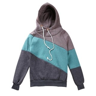 QZUnique Women's Long Sleeve Pullover High Collar Hooded Fleece Sweatshirt