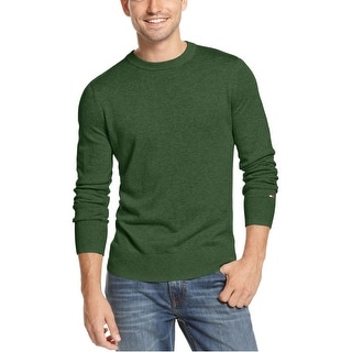 Tommy Hilfiger Cotton Black Forest Green Crewneck Sweater Pullover