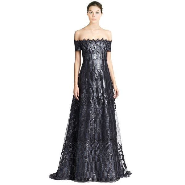Shop Rene Ruiz Art Deco Cap Sleeve Zigzag Pattern Evening Ball Gown