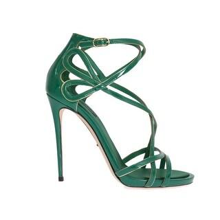 Dolce & Gabbana Green Patent Leather Strap Sandals - eu39-us8-5