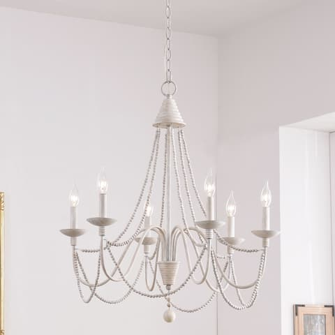 Aubrey Weathered White Wood and Metal 27-inch 6-light Chandelier