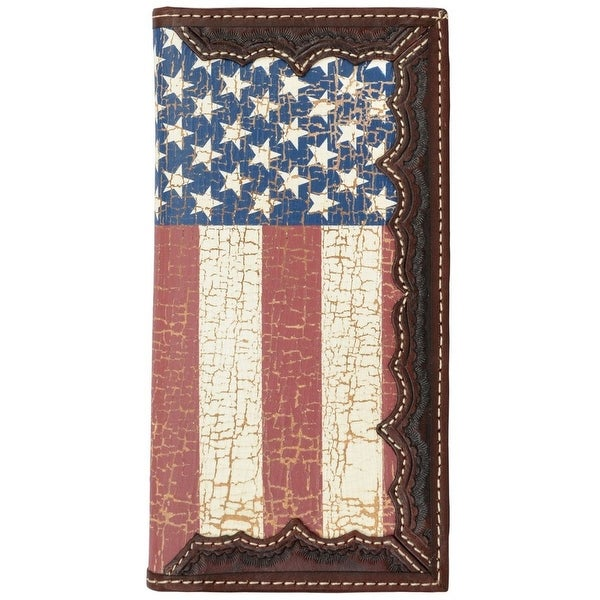 3D Western Wallet Mens Leather Rodeo Flag Brown Red - One size