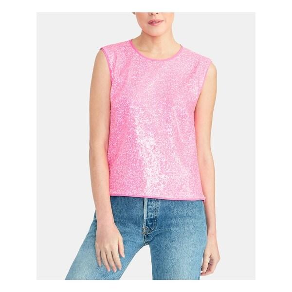 RACHEL ROY Womens Pink Sequined Cap Sleeve Jewel Neck Top Size XL. Opens flyout.