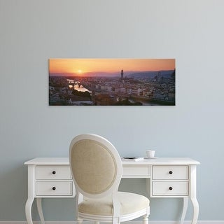 Easy Art Prints Panoramic Images's 'Sunset over a city, Florence, Tuscany, Italy' Premium Canvas Art