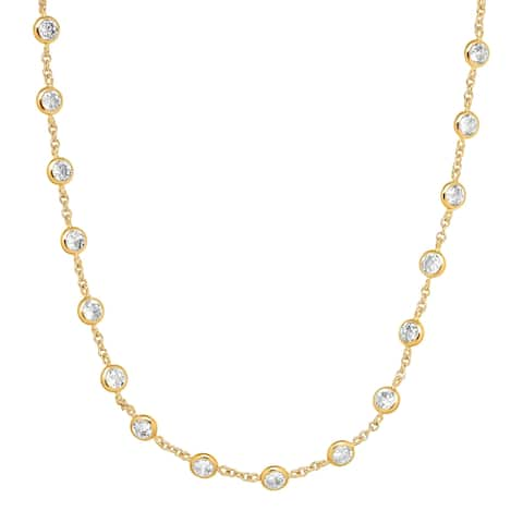 Cubic Zirconia Station Necklace in 14K Gold-Plated Sterling Silver