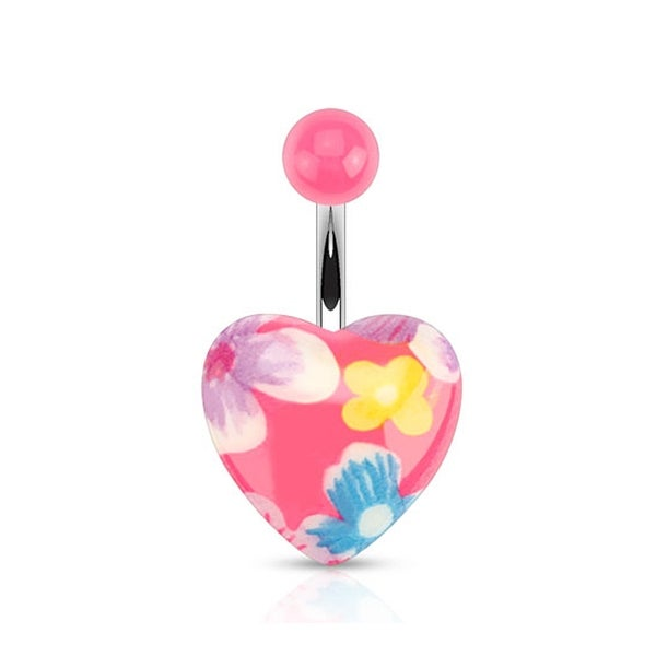 Pink Floral Printed Acrylic Heart 316L Surgical Steel Navel Belly Button Ring (Sold Ind.)