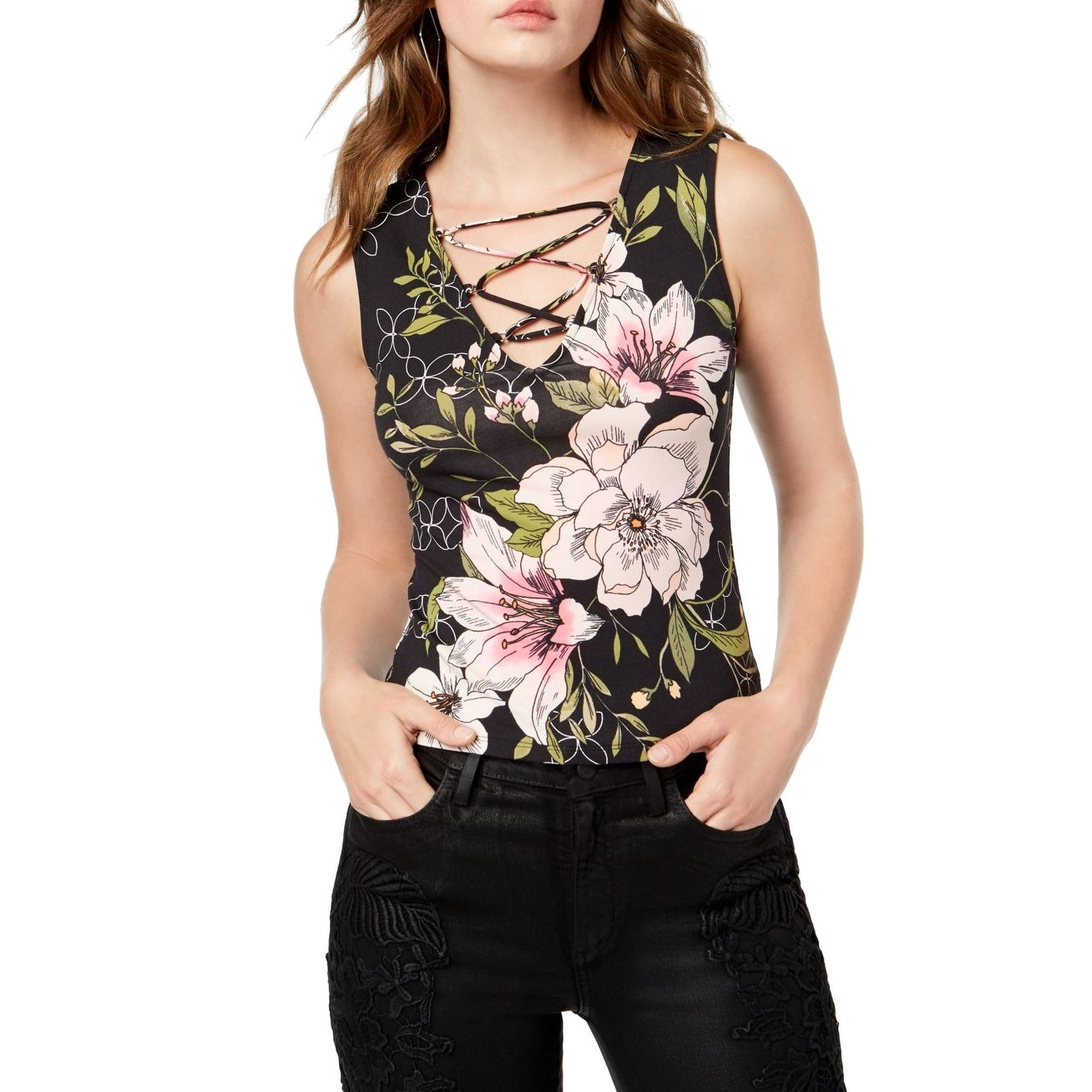 GUESS Womens Small Lace Up Floral Tank Cami Top