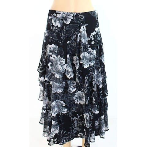 INC Women's Black Size 10P Petite Floral Print Ruffled Maxi Skirt