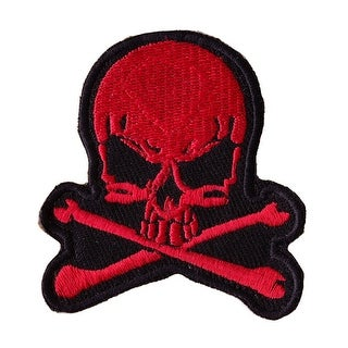 RED SKULL WITH CROSS BONES Embroidered Iron On Motorcycle Biker Vest Patch P51