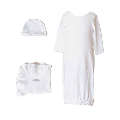 Baby Girls White Bamboo 3pc Gown Hat Blanket Layette Set