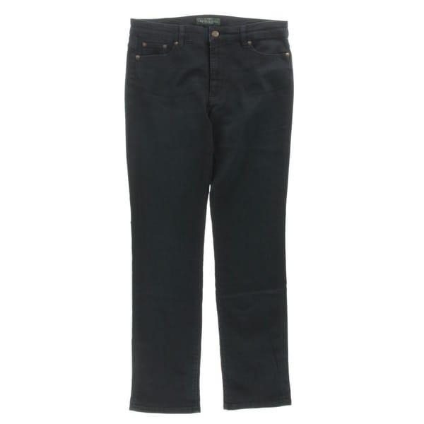 LRL Lauren Jeans Co. Womens Heritage Straight Leg Jeans Slimming Fit Denim