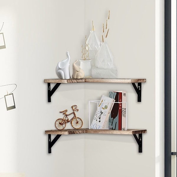 ALEKO Rustic Wood Wall Mount Storage Floating Corner Shelves - Set of 2. Opens flyout.