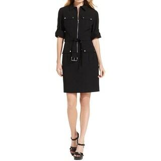 MICHAEL Michael Kors Womens Wear to Work Dress Collared Adjustable Sleeves
