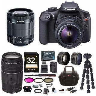 Canon EOS Rebel T6 18.0 MP DSLR Camera w/ 18-55mm & 75-300mm Lenses & Gadget Bag with 32GB SD Card Bundle|https://ak1.ostkcdn.com/images/products/is/images/direct/6ac75fca9d52efe96a183b36935e579f1094f264/Canon-EOS-Rebel-T6-18.0-MP-DSLR-Camera-w--18-55mm-%26-75-300mm-Lenses-%26-Gadget-Bag-with-32GB-SD-Card-Bundle.jpg?impolicy=medium