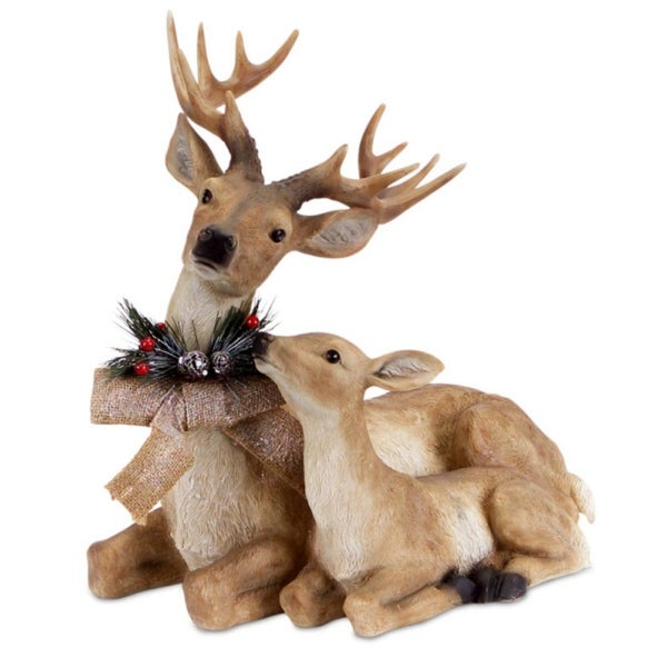 """17"""" Sitting Deer and Fawn with Snow Flocked Burlap Bow Christmas Decoration"""