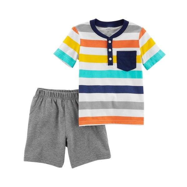 17479fa59 Shop Carter's Baby Boys' 2-Piece Jersey Top & French Terry Short Set, 3  Months - Heather/Stripe - Free Shipping On Orders Over $45 - Overstock.com  - ...