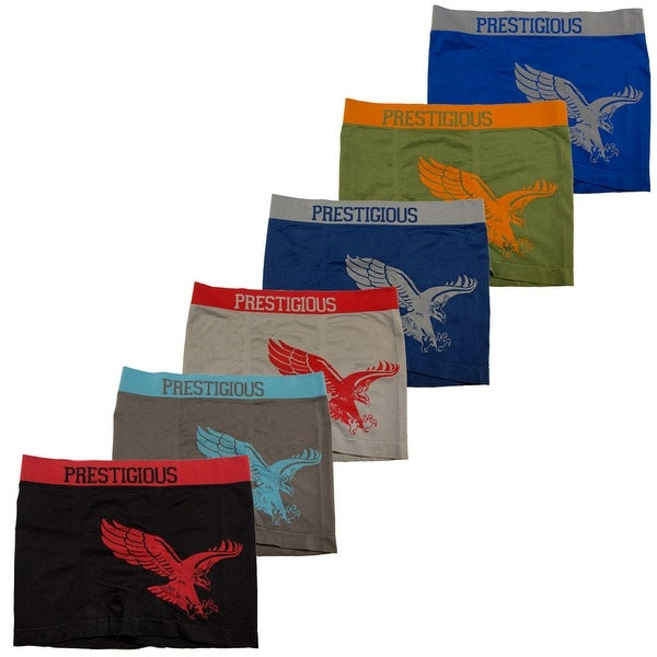 Men's 6 Pack Seamless Eagle Print Boxer Briefs