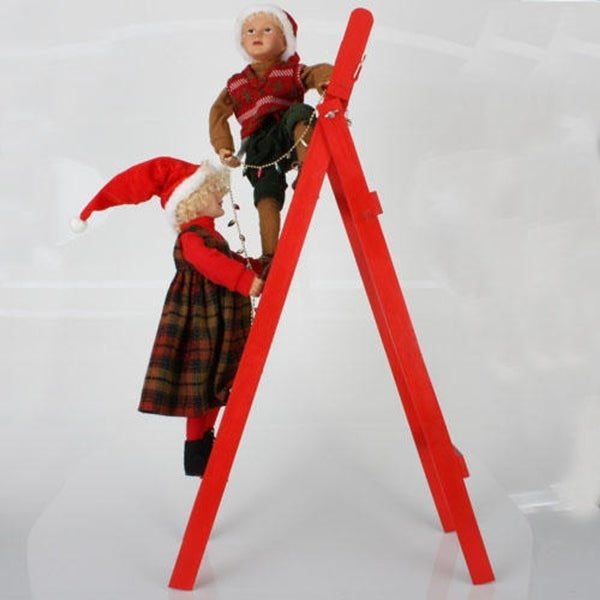"36"" Whimsical Kids Hanging Lights On Ladder Christmas Decoration - RED"