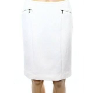 Calvin Klein NEW White Womens Size 4P Petite Straight Pencil Skirt