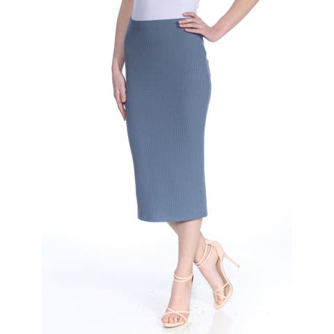 MICHAEL KORS Womens Blue Ribbed Below The Knee Pencil Wear To Work Skirt Size: XS