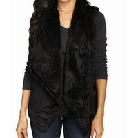 Dylan Black Womens Size Medium M Faux Fur Draped Vest Jacket