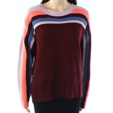 Pink Rose Burgundy Red Womens Size Small S Striped Crewneck Sweater