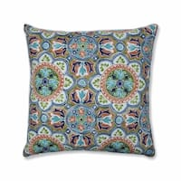 "25"" Blue and Green Damask Pattern Square Throw Pillow"