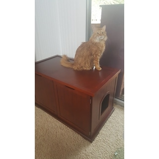 Merry Products Walnut Cat Hidden Litter Box Furniture Bench Free Shipping Today Overstock