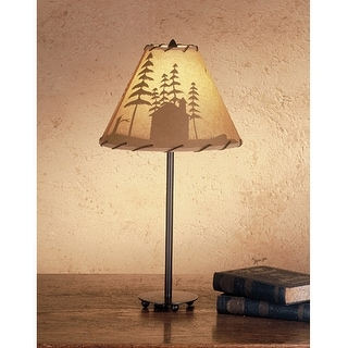 23.5 Inch H Cabin In The Woods Painted Accent Lamp Table Lamps
