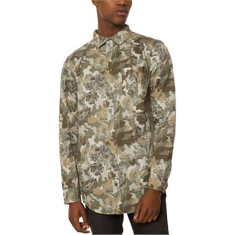 Jaywalker Mens Back Zip Button Up Shirt, Green, X-Large
