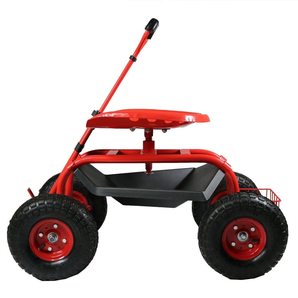 Sunnydaze Rolling Garden Cart With Extendable Steering