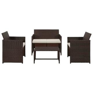 "vidaXL 4 Piece Garden Lounge with Cushions Set Poly Rattan Brown - 39.4"" x 22"" x 33.5"""