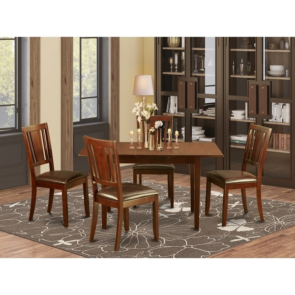 Mahogany Table Leaf and 4 Kitchen Chairs 5-piece Dining Set. Opens flyout.