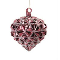 "3.25"" Rose Blush Glittered Onion Shaped Glass Christmas Ornament"