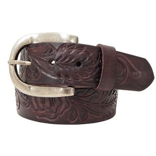 Roper Western Belt Womens Hand Tooled Leaf Pattern Buckle 8804790