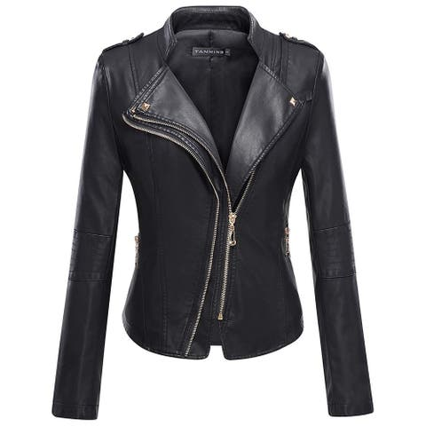 Tanming Womens Jacket Black Size XXL Faux-Leather Studded Slim-Fit