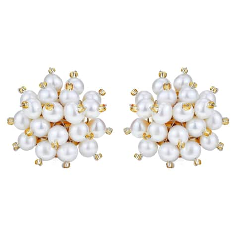 Handmade White Pearl Cluster Burst Gold-Plated over Brass Clip-on Statement Earrings (Thailand)